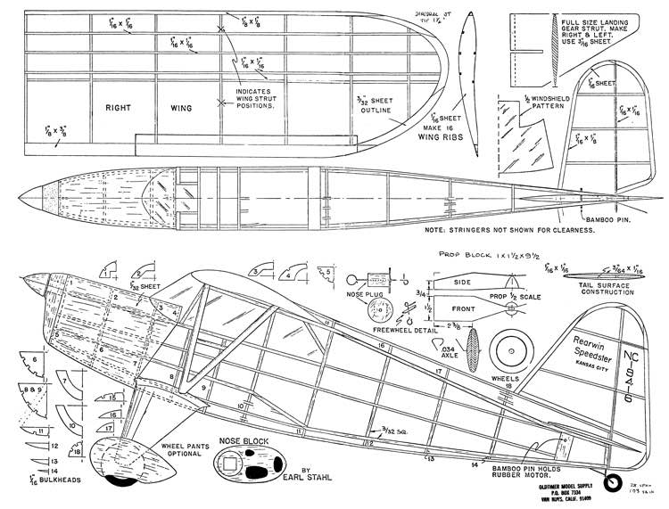 Rearwin Speedster 28in Stahl model airplane plan