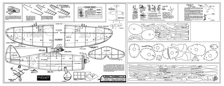 Republic P-47 Thunderbolt model airplane plan