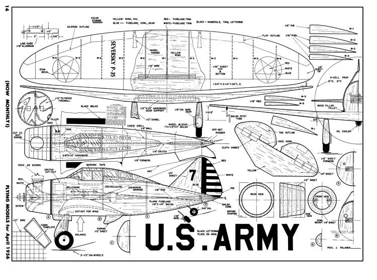 Seversky P-35-FM-04-56 model airplane plan