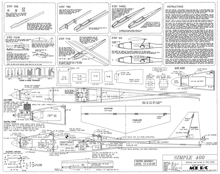 Simple 400 - Ace RC model airplane plan
