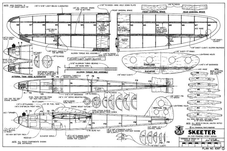 Skeeter 32in model airplane plan