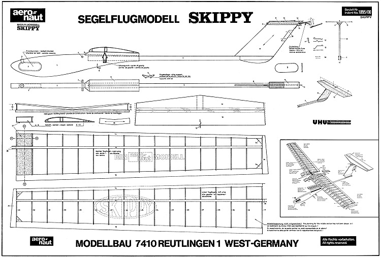 Skippy glider Aeronaut 130cm model airplane plan