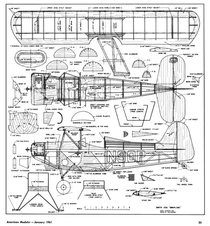 Smith Miniplane-American Modeler-01-61 model airplane plan