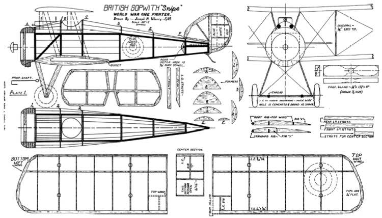 Sopwith Snipe 18in model airplane plan