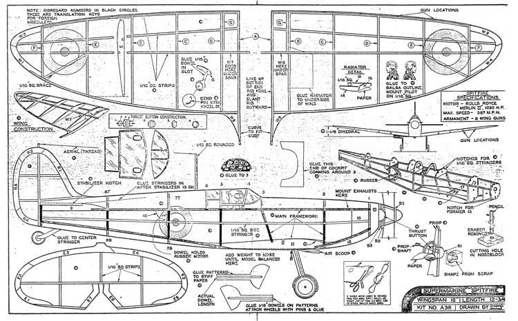 Spitfire 2 model airplane plan