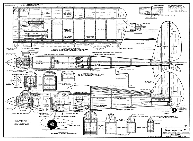 Super Sportster 20 model airplane plan