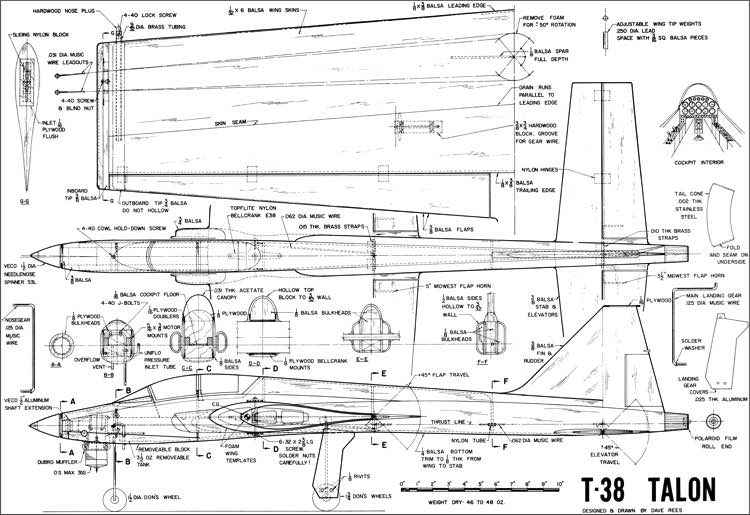 T-38 Talon Stunt 53in model airplane plan