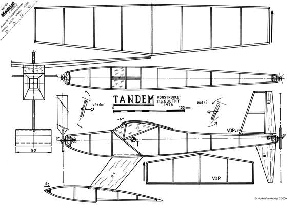 Tandem model airplane plan