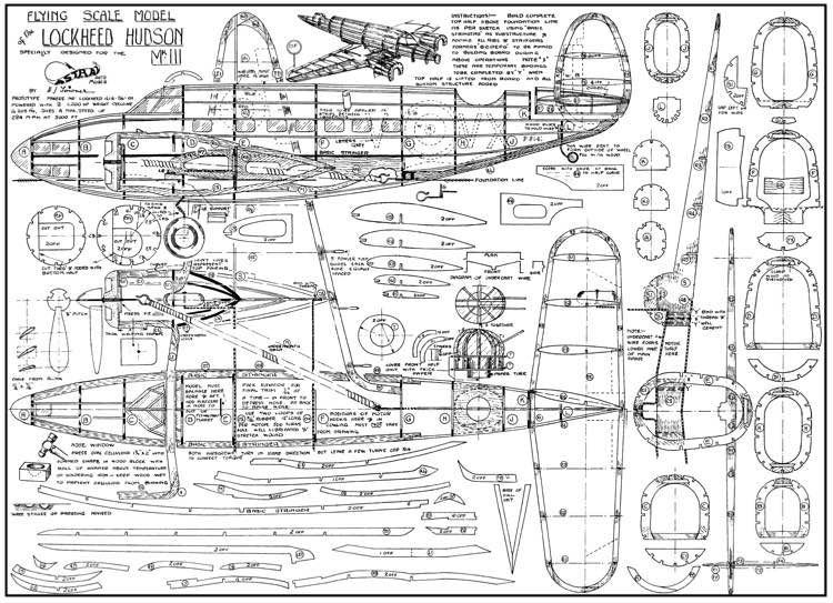 Lockheed Hudson model airplane plan