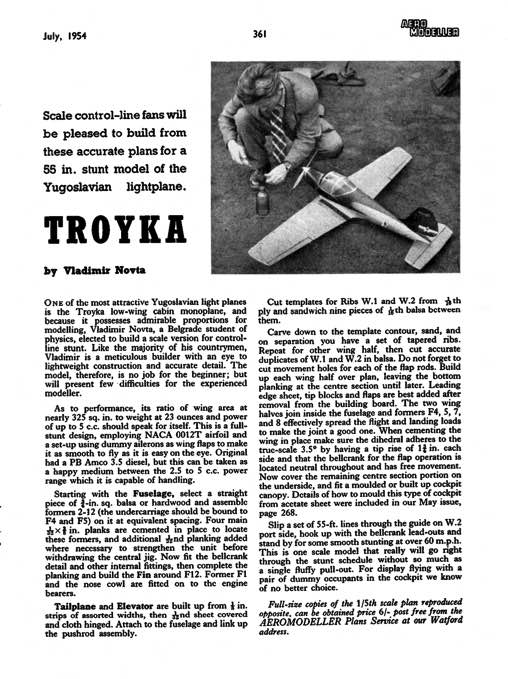 Troyka model airplane plan