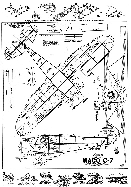 Waco C-7 Whitman 28in model airplane plan