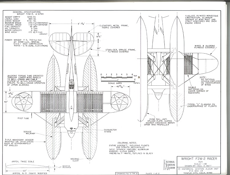 Wright F2W-2 Racer model airplane plan
