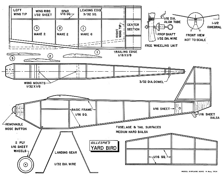 Yard BirdAeroFred - Free Model Airplane Plans