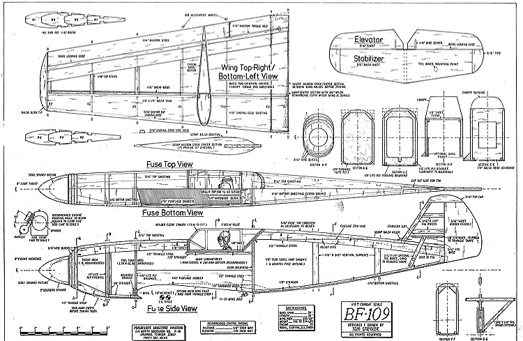 bf-109 1-12 combat model airplane plan