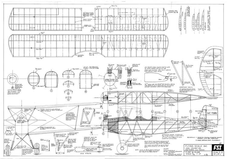 fleet biplane - fsi model airplane plan