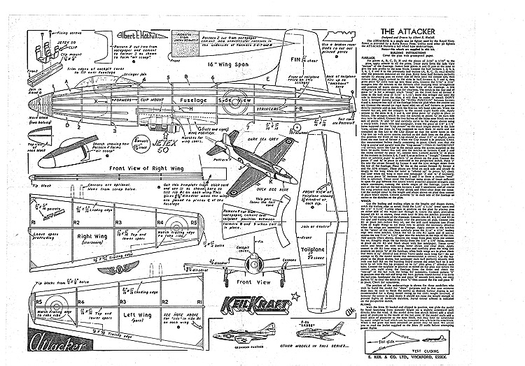 Supermarine Attacker Keil Kraft model airplane plan