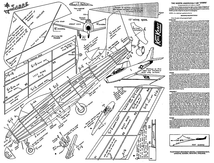Sabre Keil Kraft model airplane plan