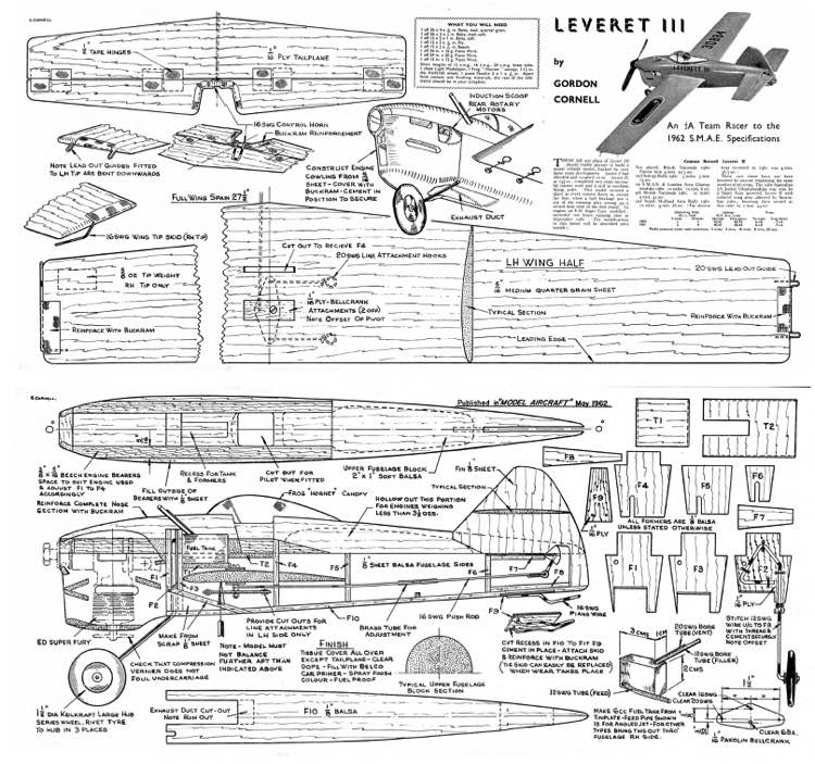 Leveret 111 C/L model airplane plan