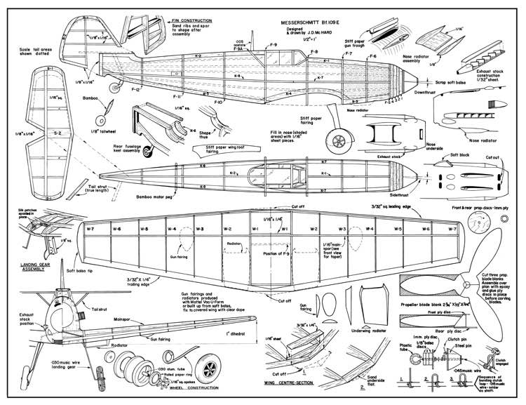 Messerschmitt BF-109 E model airplane plan