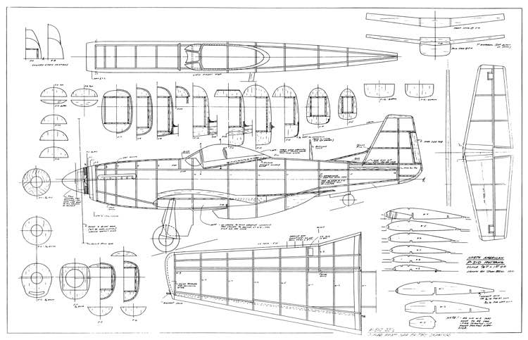 North American P 51 D model airplane plan