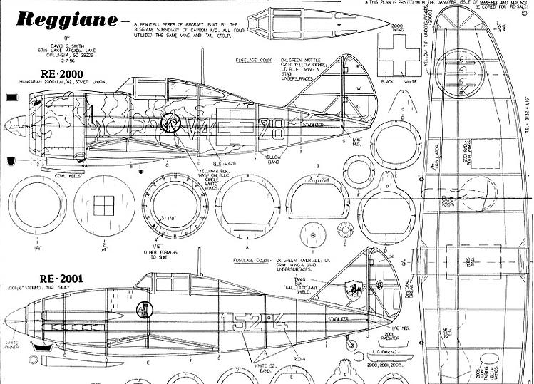 Reggianne 2000-2005  Fighters model airplane plan