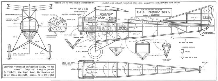 "R.E.P. ""Parasol"" Type L model airplane plan"