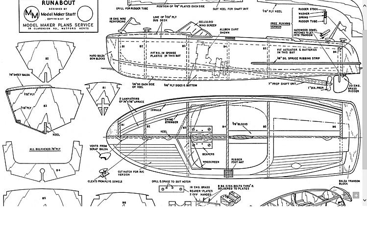 Runabout model boat plan Plans - AeroFred - Download Free Model Airplane Plans