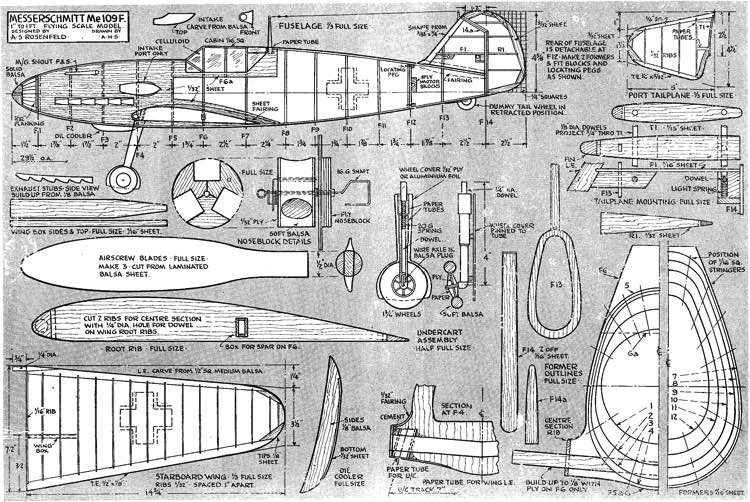 109F model airplane plan
