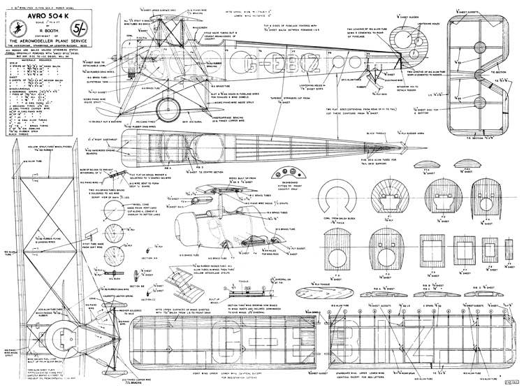 AVRO 504 model airplane plan
