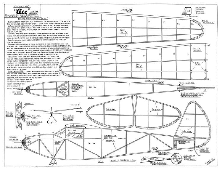 Cloudcraft Ace model airplane plan