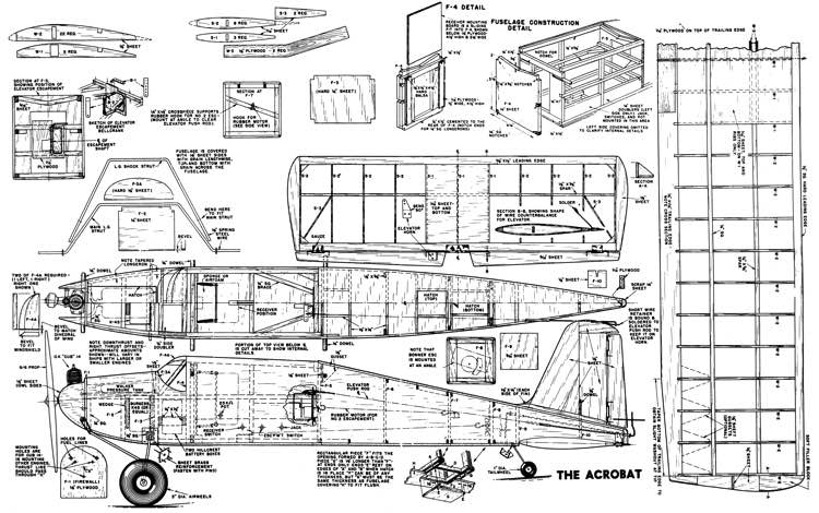 Acrobat RC 54in model airplane plan