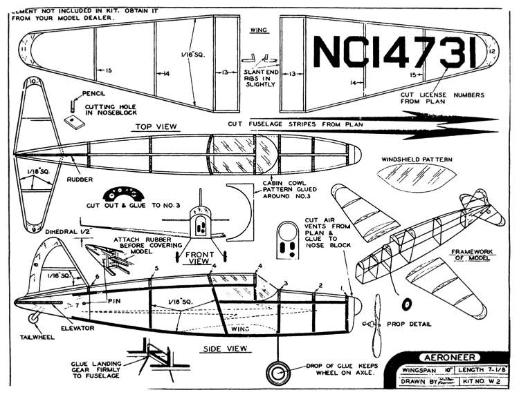 Aeroneer 10in model airplane plan