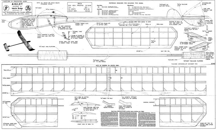 Aiglet model airplane plan