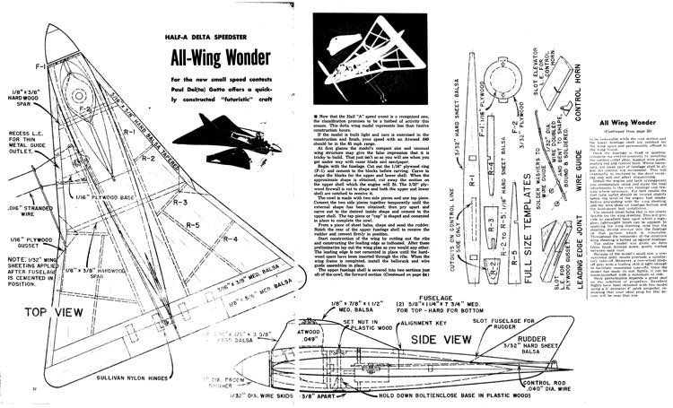 All Wing model airplane plan