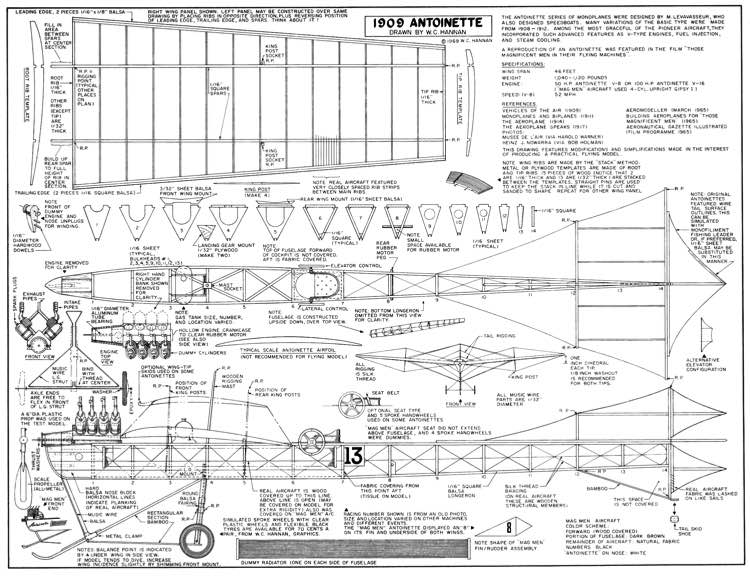 Antoinette 1909-Hannan model airplane plan