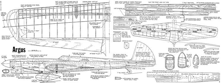 Argus Stunt model airplane plan