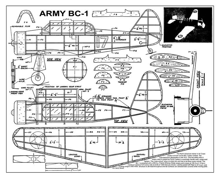 Army BC-1 model airplane plan