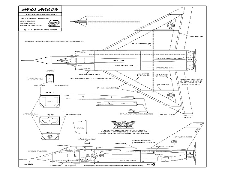 Avro Arrow CF-105 model airplane plan