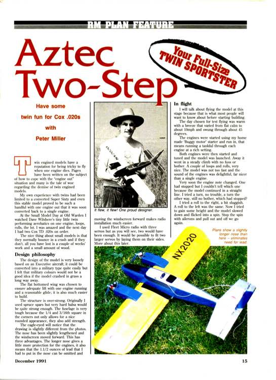 Aztec Two Step-30in model airplane plan