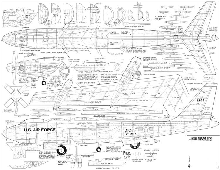 B-47D model airplane plan