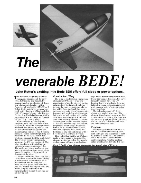 Bede BD5 model airplane plan