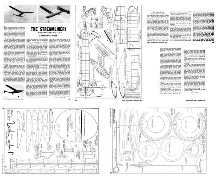 Berger Streamliner model airplane plan