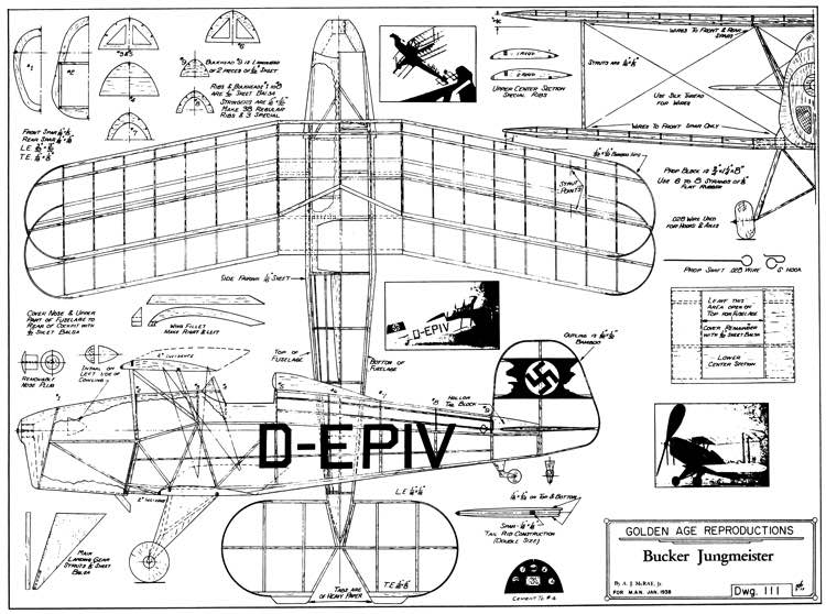 BuckerJungmeister model airplane plan