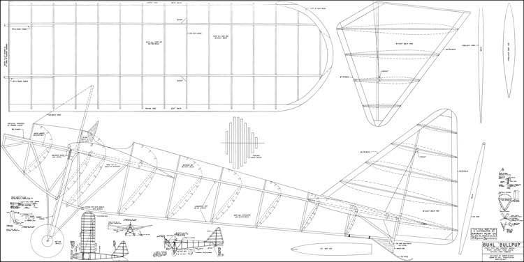 Buhl Bull Pup 96in model airplane plan