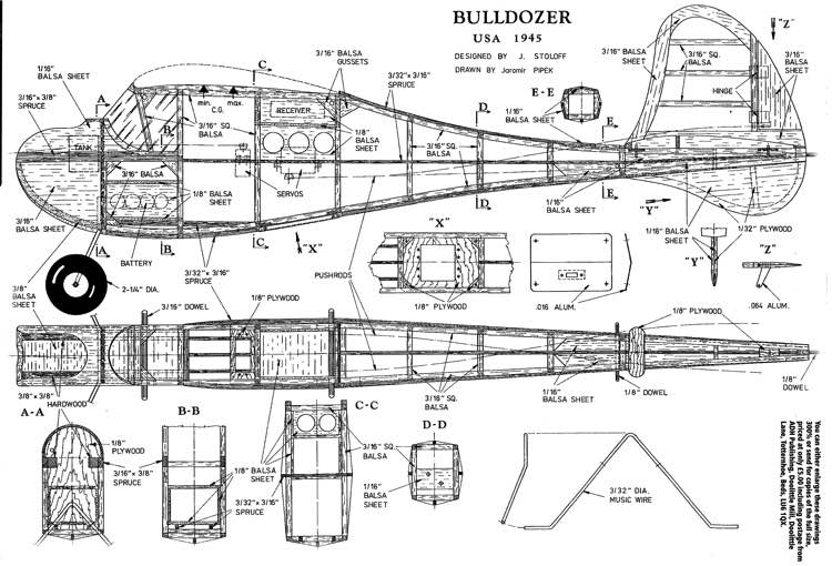 Bull Dozer model airplane plan
