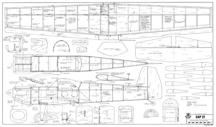 Cap21 54in model airplane plan
