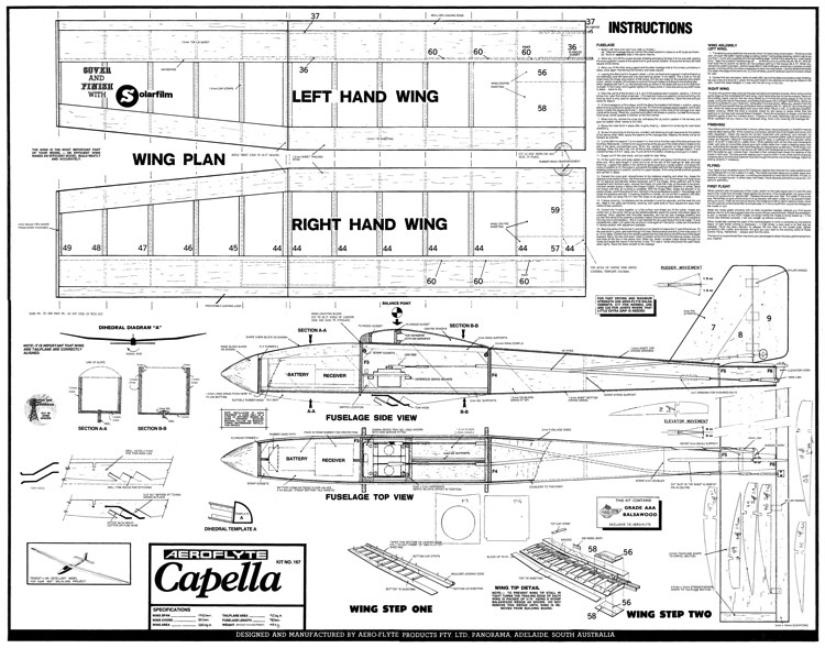 AeroFlyte Capella model airplane plan