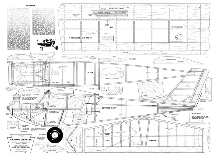 Capitol Special 48in model airplane plan