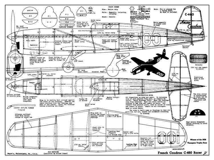 Caudron C 460 Plans Aerofred Download Free Model