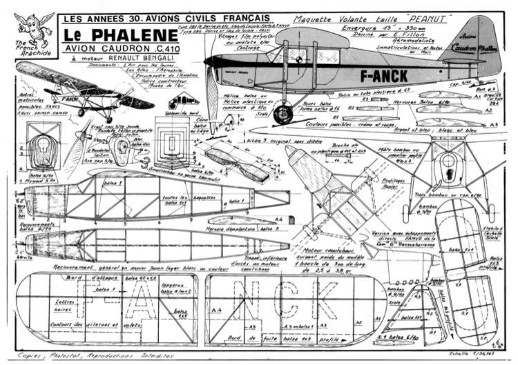 Caudron Phalene model airplane plan